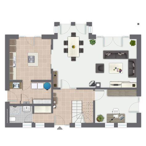 Fertighaus Carina - Erdgeschoss Außenmaße 12,23 m x 8,35 m + 3,45 m x 1,13 m Raumgrundfläche EG 86,58 qm Raumgrundfläche DG 71,24 qm Umbauter Raum 695,50 cbm Bebaute Fläche 106,05 qm Wohnfläche gesamt 157,82 qm
