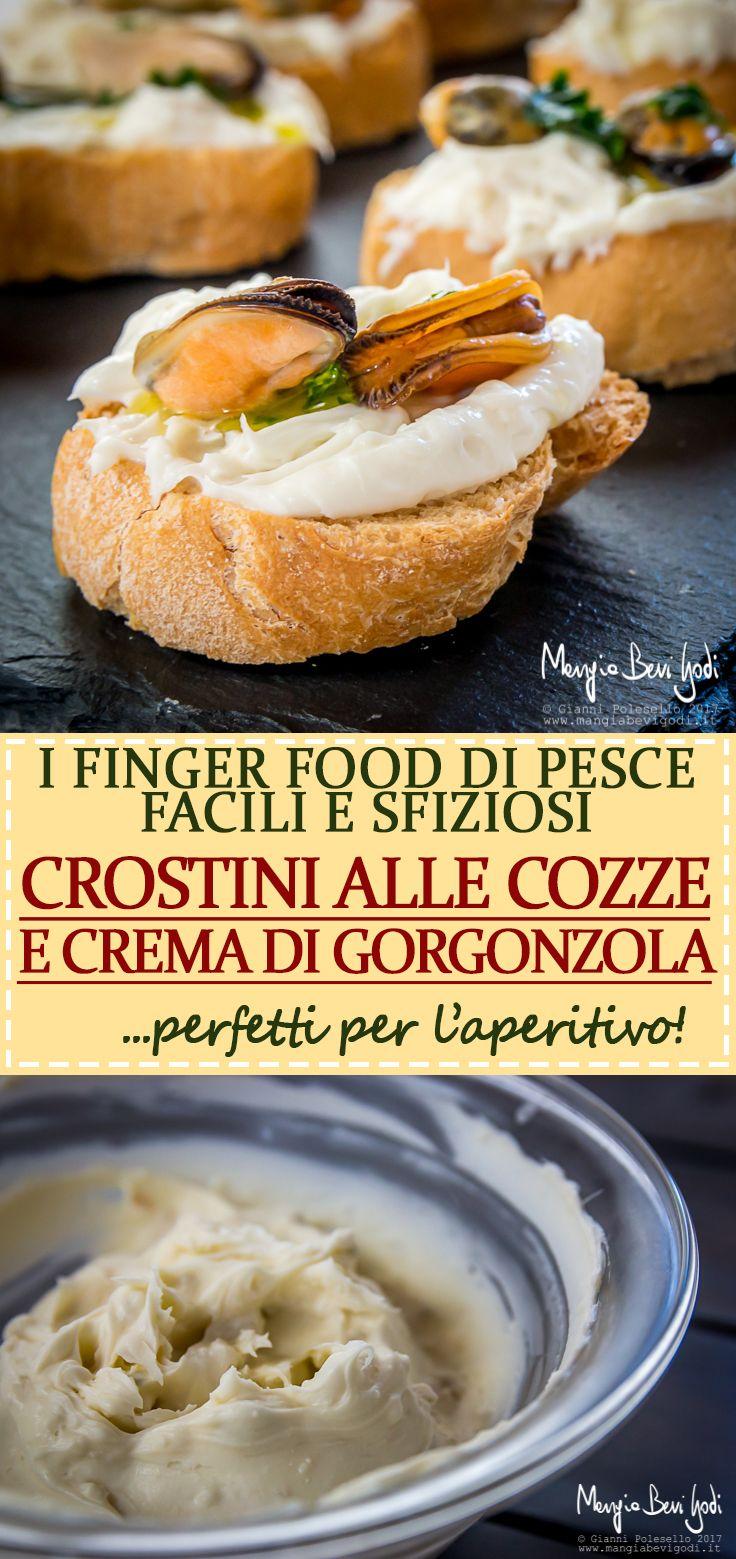 Questi crostini con cozze e crema di gorgonzola e mascarpone sono un finger food di pesce facile e veloce da preparare.
