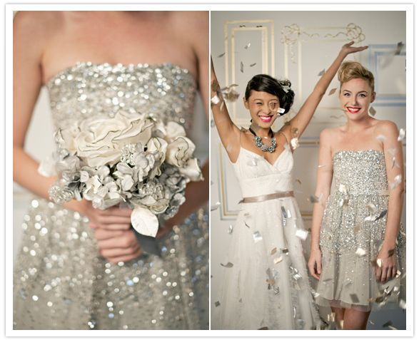 metallic and sparkle wedding decor