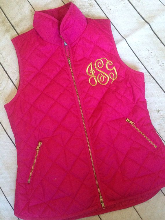 Quilted monogrammed vest.  by skkilby21 on Etsy, $55.00. Just bought 2 vests to get monogrammed!:)