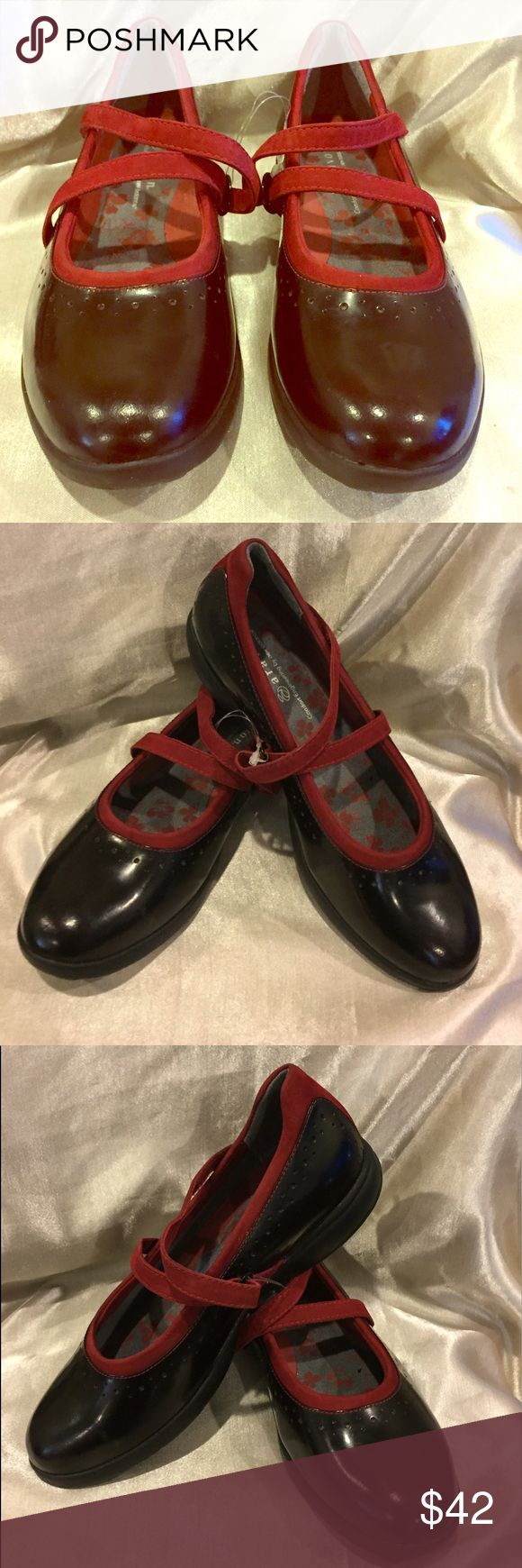 Aravon New Balance Mary Janes Black  Red size 7.5 Aravon by New Balance red and black Mary Jane vibram soles please see pic EUC New Balance Shoes Flats & Loafers