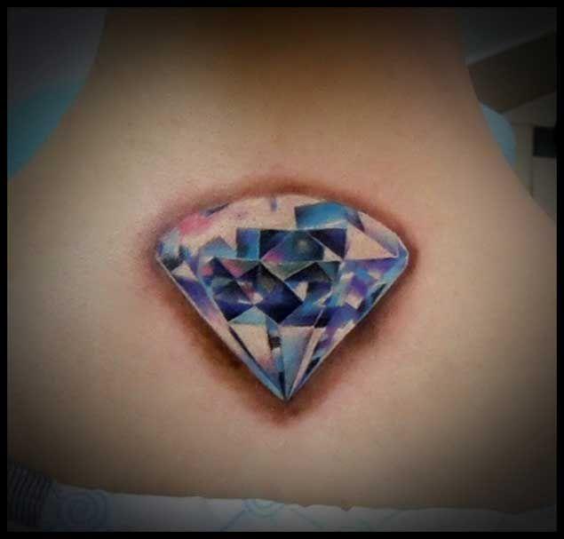 Beautiful Diamond Tattoo on Back of Neck