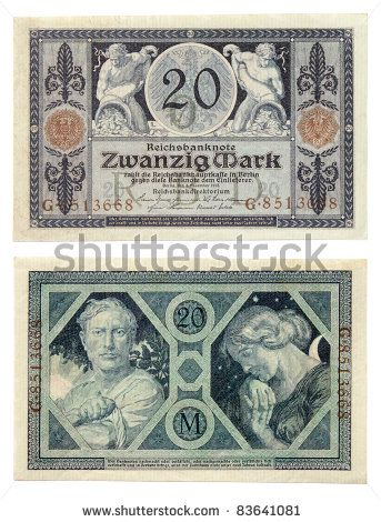 german money | Ancient German currency notes issued by Empire Bank in 1915. 20 German ..