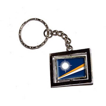 Marshall Islands Country Flag New Keychain Ring, Silver