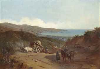 Johann Moritz Rugendas (1802-1858) Valparaíso from the Santiago road  signed and dated 'Mor.o Rugendas / Valpo 1842' (lower right), titled 'The Road to Valparaiso' on the frame oil on canvas 25 1/8 x 36 1/8in. (63.9 x 91.7cm.)