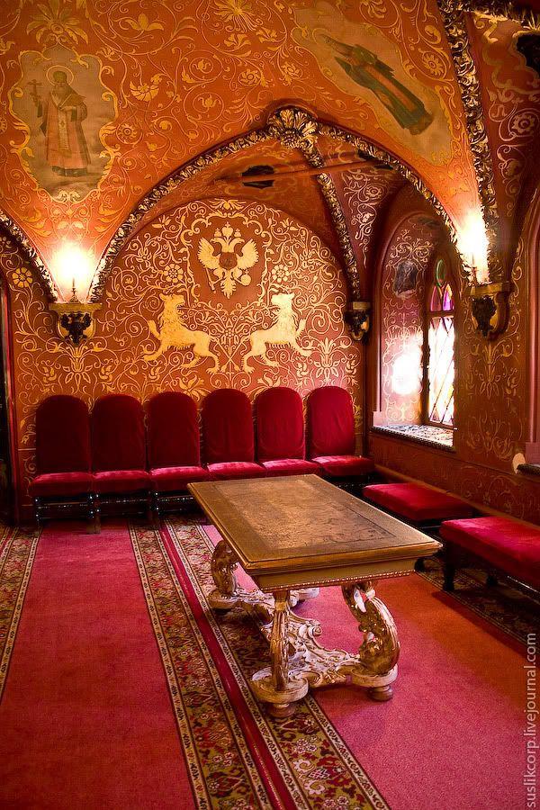 The ancient Russian interior.. Tsarist palace -Granovitaya chamber..