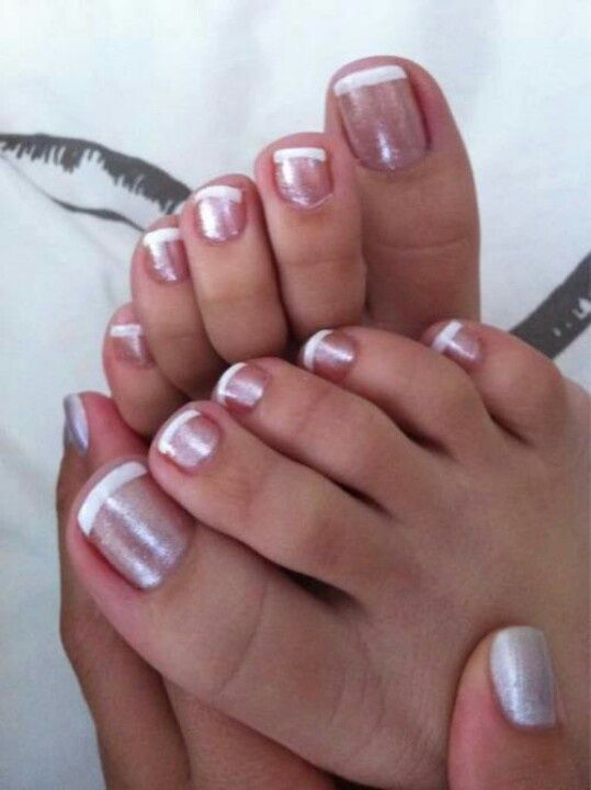 French Grey Pedicure Toe Nails Toe Nail Color French Pedicure Designs