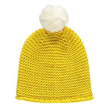 Miss Pom Pom Yellow Super Pom Beanie Hat: Miss Pom Pom Yellow Super Pom Beanie Hat. Yellow textured chunky hand knit beanie.  Made with yellow Italian yarn and is topped with a cream oversized pom. Can be worn slouchy, rolled-up fisherman style or with a turn-up. Hypoallergenic and super soft.