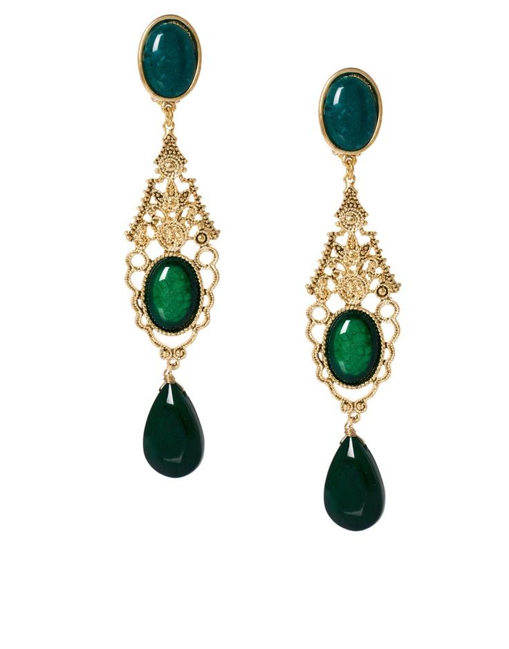 Talulllah Tu for ASOS - Emerald Large Stone Drop Earrings