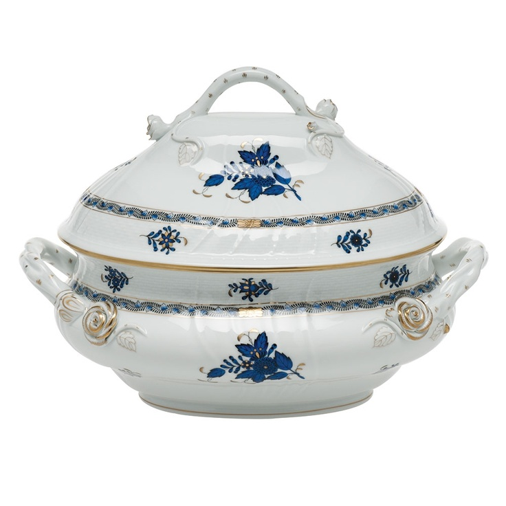 Popular China Patterns Part - 38: Herend Chinese Bouquet Black Sapphire Tureen With Branch Handles