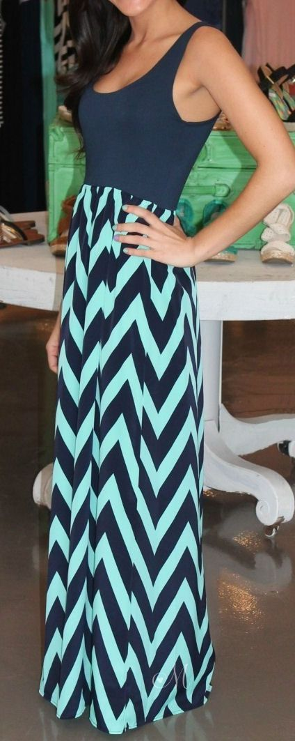 Navy & Mint Chevron Maxi Dress - this has been on my feed for days...May as well pin it since it's so cute