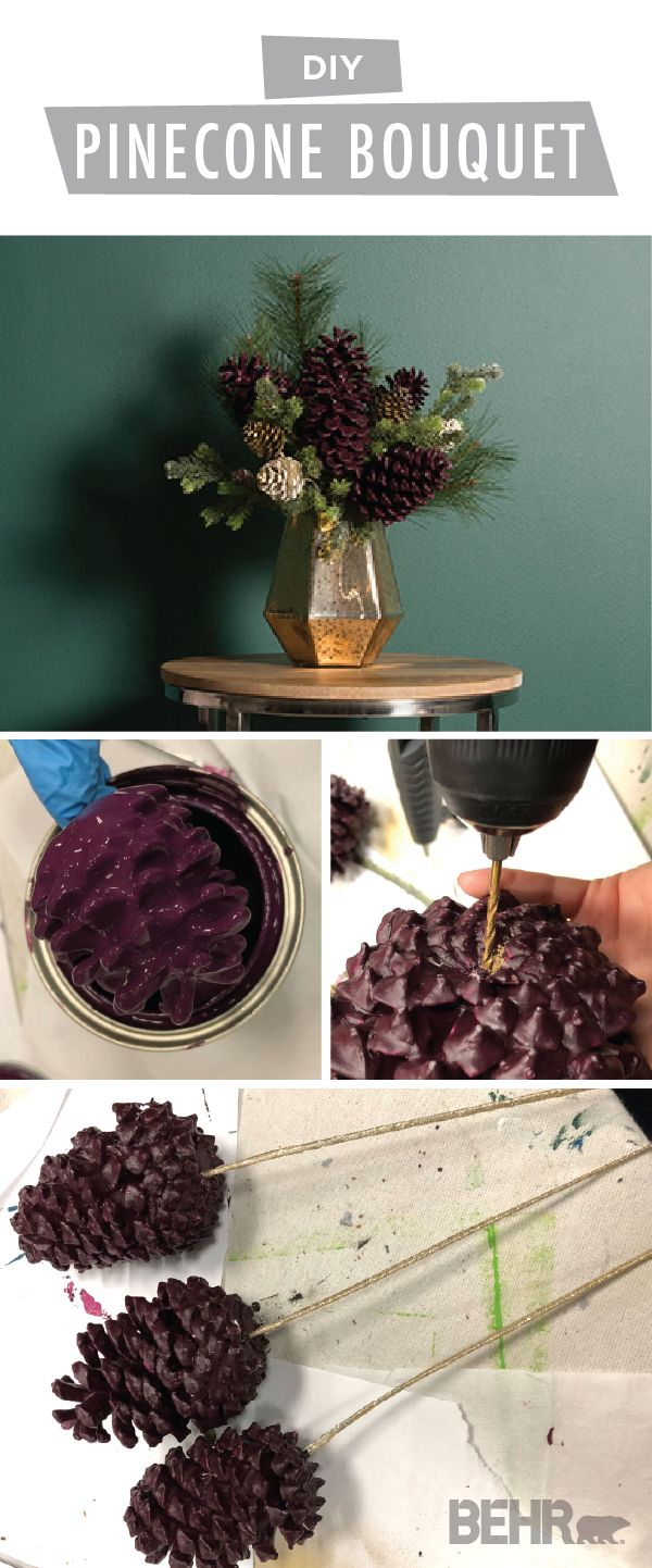 Fresh flowers are old news. This holiday season, we're spicing up our tabletop centerpiece with this DIY pinecone bouquet. Paint-dipped pinecones in the deep purple hue of Nocturne Shade by BEHR Paint create a rustic piece of winter home decor. Add pine branches and glitter accents to complete this creative Christmas craft.