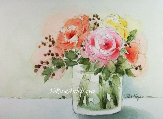 Bouquet of Roses Watercolor Painting by RoseAnn Hayes, prints available in Etsy shop, flowers, floral