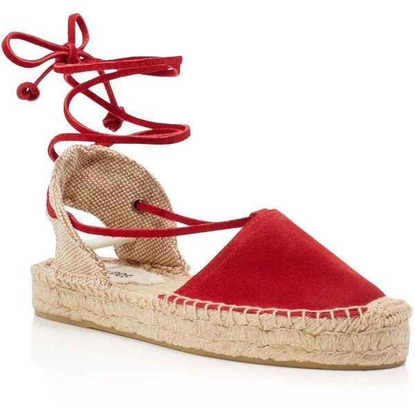 Soludos Platform Gladiator Espadrille Sandals (2.127.160 VND) ❤ liked on Polyvore featuring shoes, sandals, chili red, lace up gladiator sandals, red sandals, platform sandals, platform espadrilles and suede lace up sandals