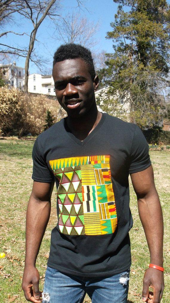 African Print  V neck T shirt African Print T shirt by Shipella