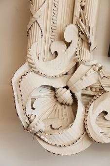 DETAIL of Herve Pierre At Home, this elaborate outer frame is made from... corrugated cardboard.