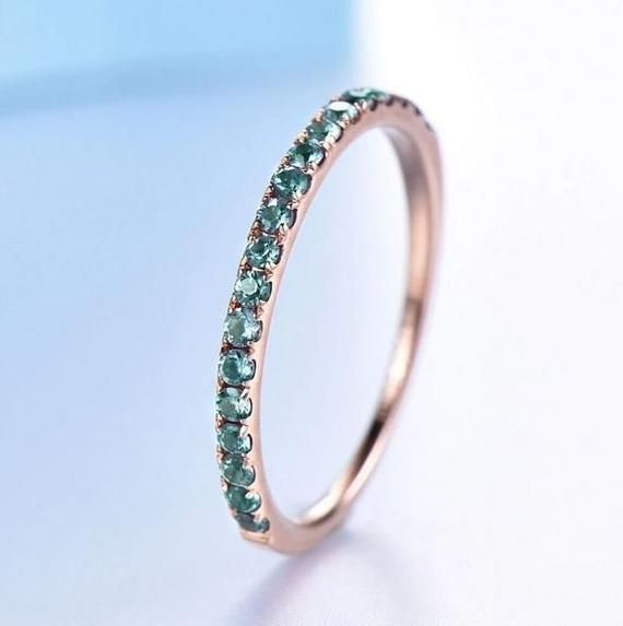 Color Change Alexandrite Half Enternity Wedding Band In Etsy In 2020 Rose Gold Engagement Ring Vintage Antique Engagement Rings Rose Gold Antique Engagement Rings Vintage