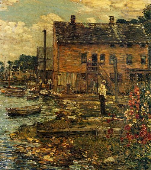 thusreluctant:  The Fishermen, Cos Cob by Childe Hassam