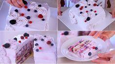 Torta quadrata facile, torta di compleanno furba in meno di mezz'ora, torta con la panna e i frutti di bosco come in pasticceria, ideale per eventi speciali
