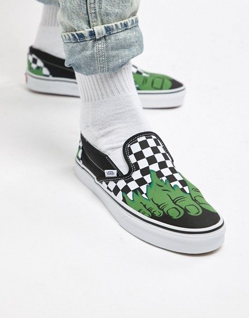 f1446a968192 Vans x Marvel Hulk Checkerboard Slip on Sneakers VA38F7U44