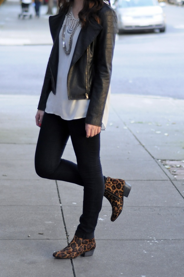 leopard booties with leather jacket