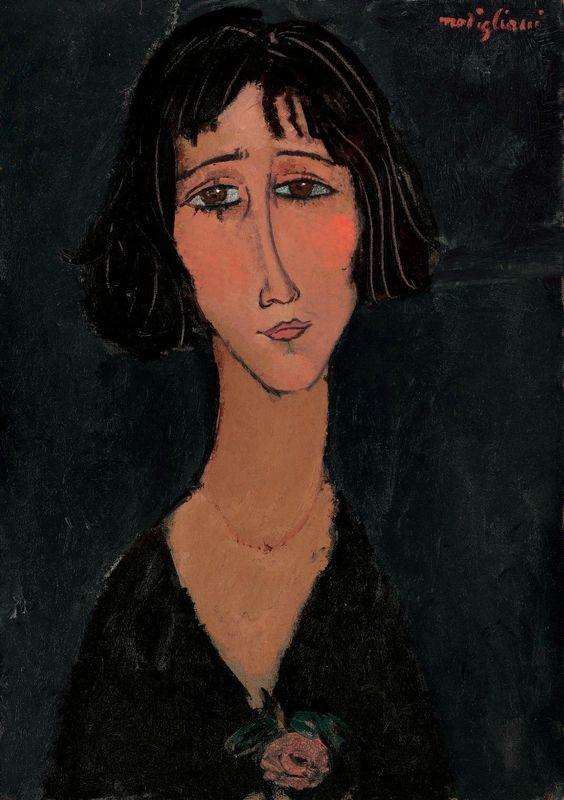 Amedeo Modigliani (1884-1920), Jeune femme à la rose (Margherita), signed 'modigliani' (upper right), oil on canvas, 25 5/8 x 18 1/8 in. (64.9 x 46.1 cm.). Painted in 1916