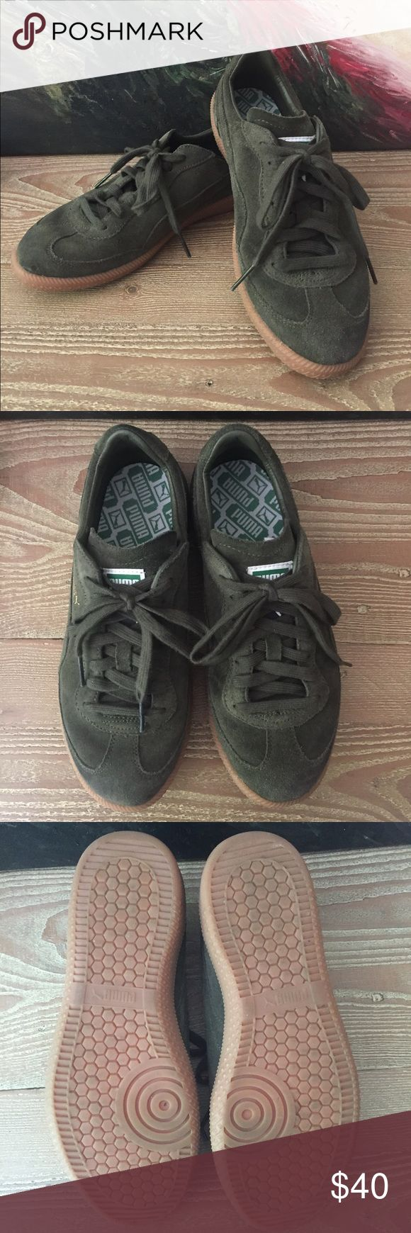 Green suede Pumas These are cool moss green Pumas from a vintage come-back line, meaning they're a remake of an old classic. Real suede upper. Only worn 2 times. Men's size 8 US, bought for myself and they fit a women's size 9. Puma Shoes Sneakers