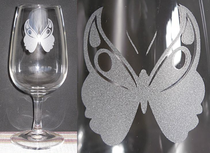 Wine glass with Butterfly.
