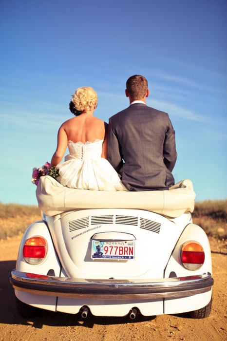 Just Married. White VW Beetle Convertible