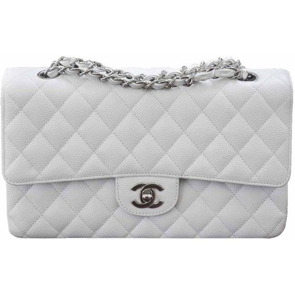 Pre-Owned Chanel Caviar Medium Flap Bag found on Polyvore featuring bags, handbags, accessories, white, multi colored leather purses, colorful purses, white leather handbags, white leather purse and pocket purse