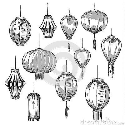 Insieme delle lanterne cinesi