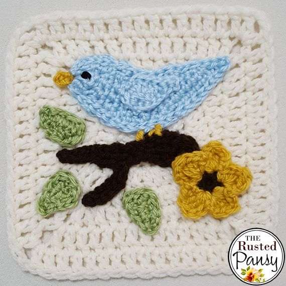 Between appointments, gatherings, to-do lists, t-ball and working on the garden I have found time to keep up the crochet appliques :) I love birds and leaves, and I think this is my most favorite a…