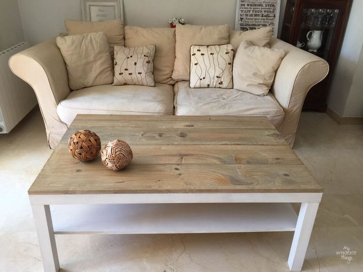 Ikea Lack coffee table hack with some wood and dye…