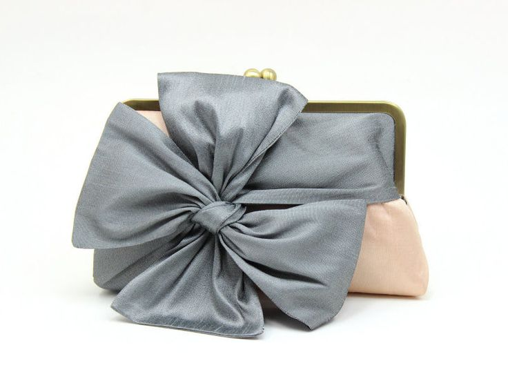 Classic Bow Clutch : Dark Gray on Peach Champagne