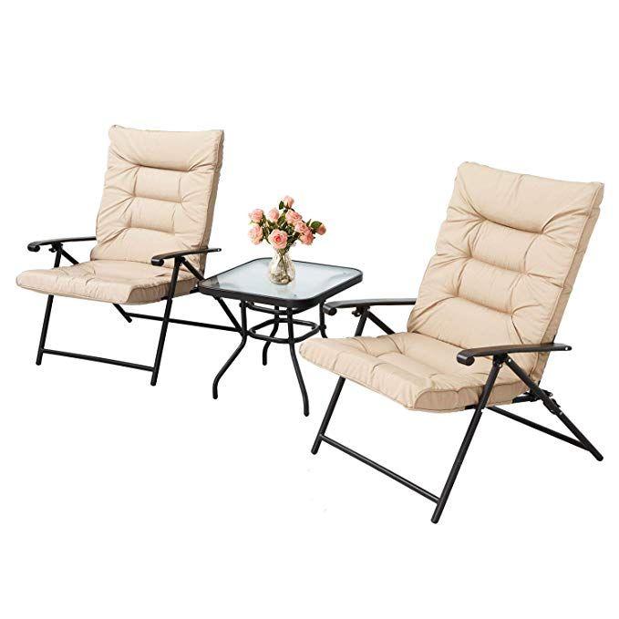 Amazon Com Lahaina 3 Piece Patio Padded Folding Chair Set Outdoor