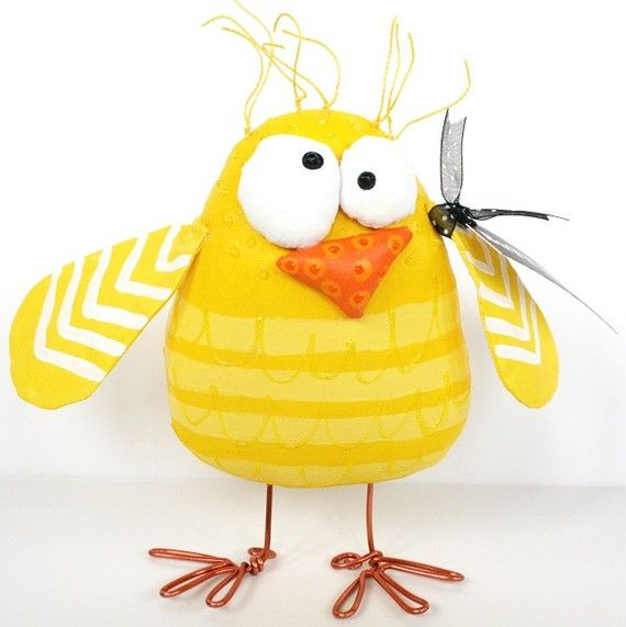 Chick named Over Easy ... free standing ... whimsical Easter art ... yellow stripes ... BuTT UgLee