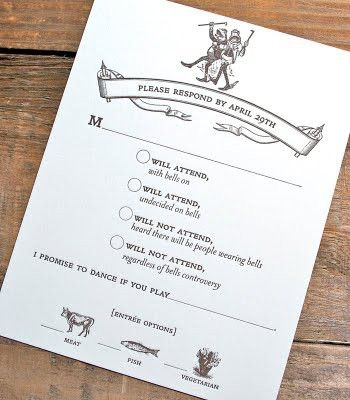 """""""i promise to dance if you play..."""" & also entree option pictures on invites, that way i can have a count on how many of what kind of food to make for the buffet table!"""