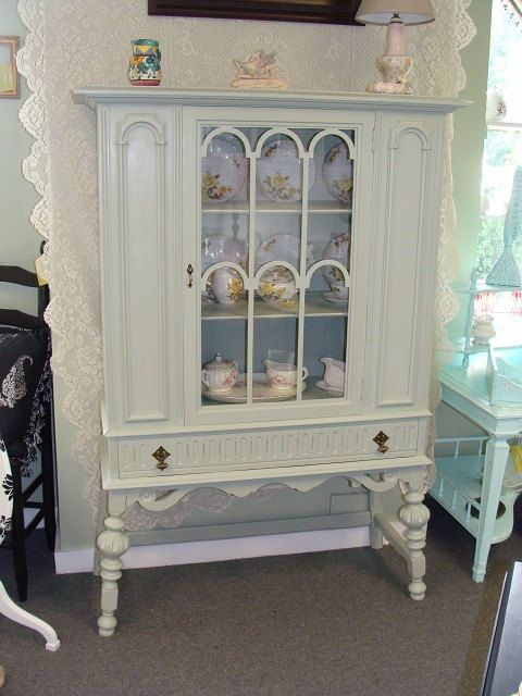 Painted Curio Cabinet/China Cabinet by PattisFinds on Etsy, $299.00