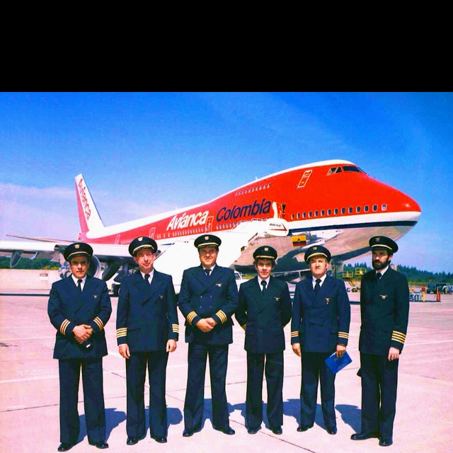 Delivery Avianca 747 combi. My grandfather, chief pilot, is the second from left to right. Beautiful picture, and personal inspiration.