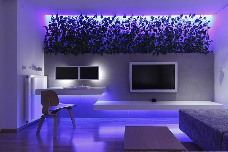 Backlights with greenery, daytime green plants are the design, nighttime they appear black  Modern Apartment by RULES Architekti