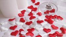 1000pcs boda decoración de la tabla del corazón , DIY decoración del partido , Tela del corazón , tejido boda pétalo,(China (Mainland))