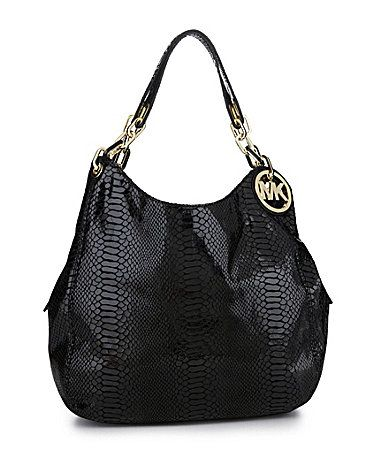 MICHAEL Michael Kors Patent Python Large Fulton Shoulder Tote Bag