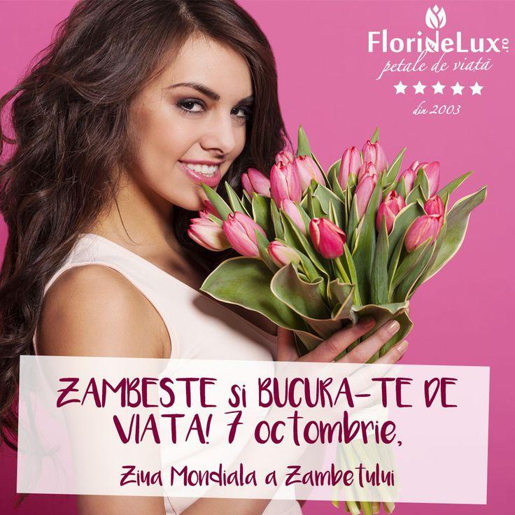felicitare cu flori pentru Ziua Mondiala a zambetului