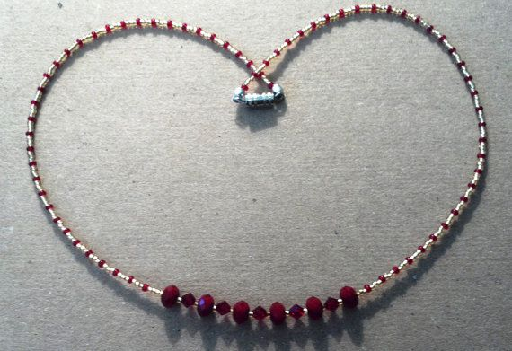 15 inch handmade red and gold beaded necklace by MGBeadCreations, $25.00