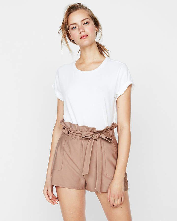 New Express Pink High Waist Ruffle Mini Skirt Tie Front