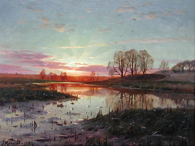"Peder Mork Monsted (Peder Mork Mønsted) (1859-1941) Evening at Naesbyholm Oil on board 1907 25.4 x 40.005 cm (9¾"" x 15½"") Private collection"