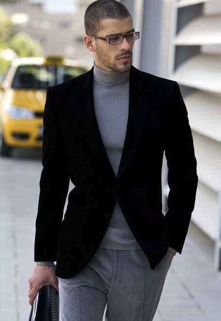 Shop this look for $95:  http://lookastic.com/men/looks/grey-turtleneck-and-black-velvet-blazer-and-grey-chinos/1027  — Grey Turtleneck  — Black Velvet Blazer  — Grey Chinos