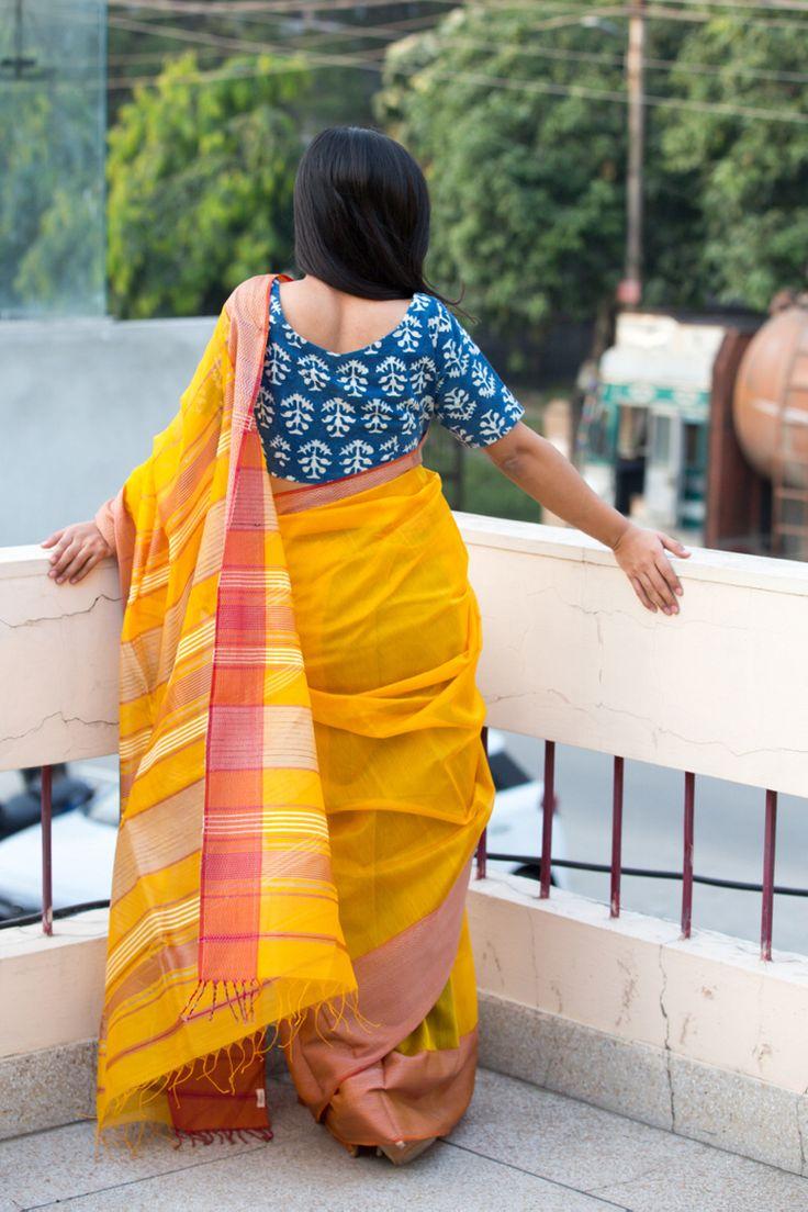 Maheshwari sari paired with an indigo blouse