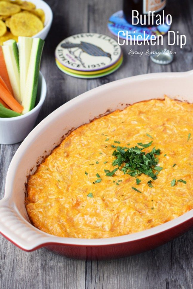 Paleo Buffalo Chicken Dip | This dip is a HUGE hit at parties, which is why I always make a double batch! | paleo, gluten-free & dairy-free | Living Loving Paleo