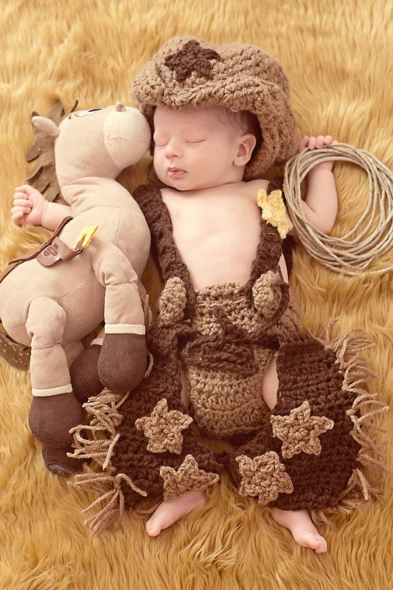 Cowboy outfit crochet cowboy chaps diaper cover and cowboy hat photography prop